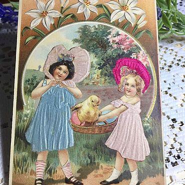 Винтаж ручной работы. Ярмарка Мастеров - ручная работа Антикварная открытка «Дети». Handmade.