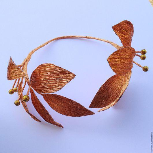 Шляпы ручной работы. Ярмарка Мастеров - ручная работа. Купить Лавровый венок золотого цвета. Handmade. Золотой, ободок с цветами