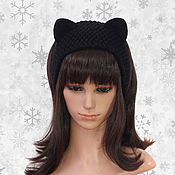 Аксессуары handmade. Livemaster - original item Headband with Cat ears knitted hair Black. Handmade.