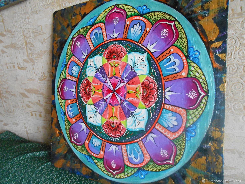 Абстракция ручной работы. Ярмарка Мастеров - ручная работа. Купить Мандала картина 'Гармония равновесия' 53 х 53 см. Handmade.