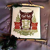 Картины и панно handmade. Livemaster - original item Embroidered owl, an Owl and owlets, cones embroidery tree. Handmade.