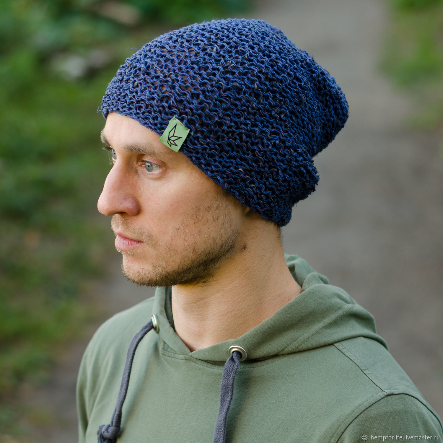 Hat beanie from hemp, blue, Caps, Nizhny Novgorod,  Фото №1