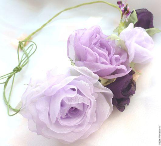 """Диадемы, обручи ручной работы. Ярмарка Мастеров - ручная работа. Купить Венок с цветами из ткани """" Сиреневое утро"""". Handmade."""