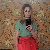 Одежда ручной работы. Ярмарка Мастеров - ручная работа Льняная юбка длина МИДИ. Handmade.