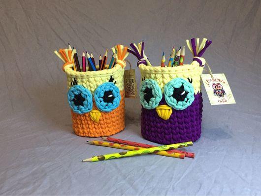 Детская ручной работы. Ярмарка Мастеров - ручная работа. Купить Обворожительные совушки-карандашницы для детишек. Handmade. Карандашница, корзинка, детская