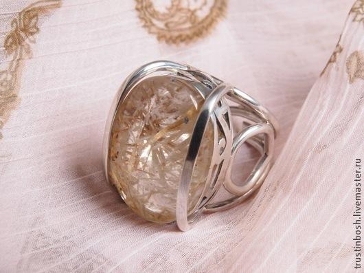 Кольца ручной работы. Ярмарка Мастеров - ручная работа. Купить Кольцо с аквариумным кварцем. Handmade. Бежевый, кольцо, кварц натуральный