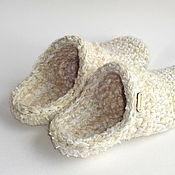 Обувь ручной работы handmade. Livemaster - original item Chuni slippers, white half-wool. Handmade.
