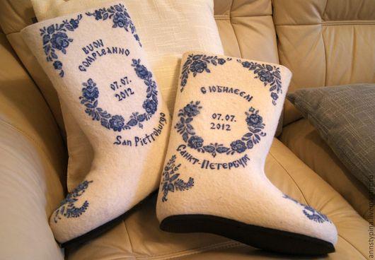 Обувь ручной работы. Ярмарка Мастеров - ручная работа. Купить С юбилеем. Handmade. Юбилей, валенки, войлок, Валяние