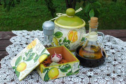"""Кухня ручной работы. Ярмарка Мастеров - ручная работа. Купить Кухонный набор """"Солнечный лимон"""". Handmade. Желтый, горшочек, деревня"""