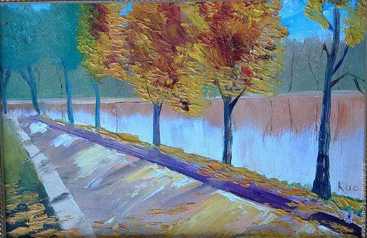 картина маслом пейзаж осень аллея парк река солнечный день солнце
