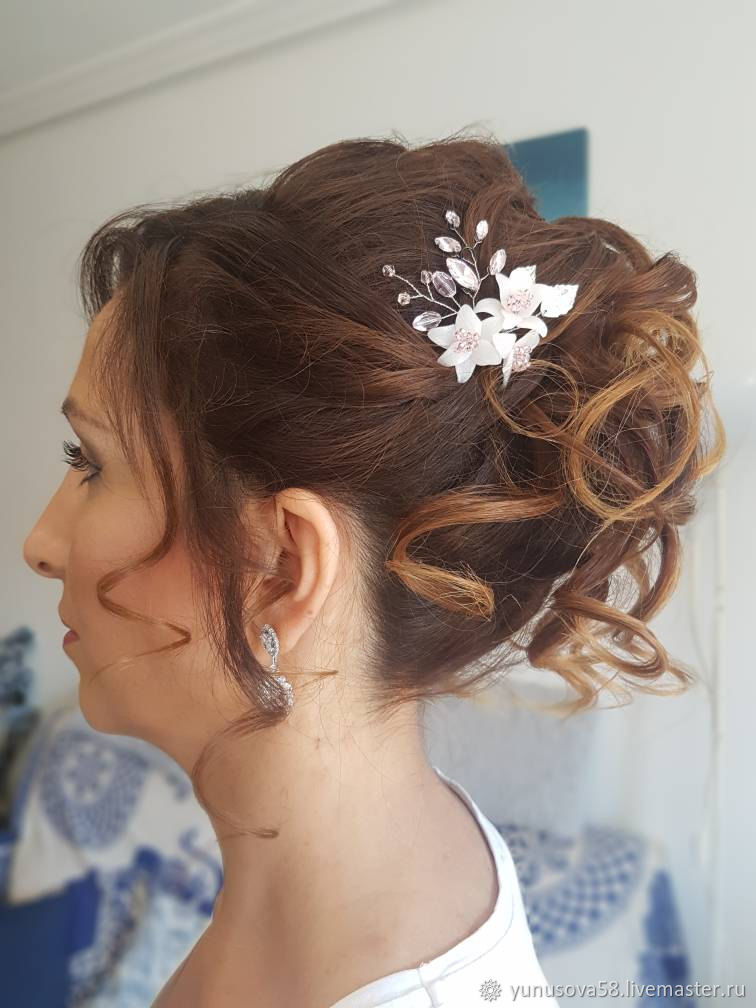 Bridal Hair Decoration With Flowers And Leaves Hairpin For Brides