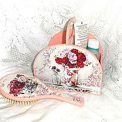 Для дома и интерьера handmade. Livemaster - original item Set Ladies box and comb Pink Fleur. Handmade.