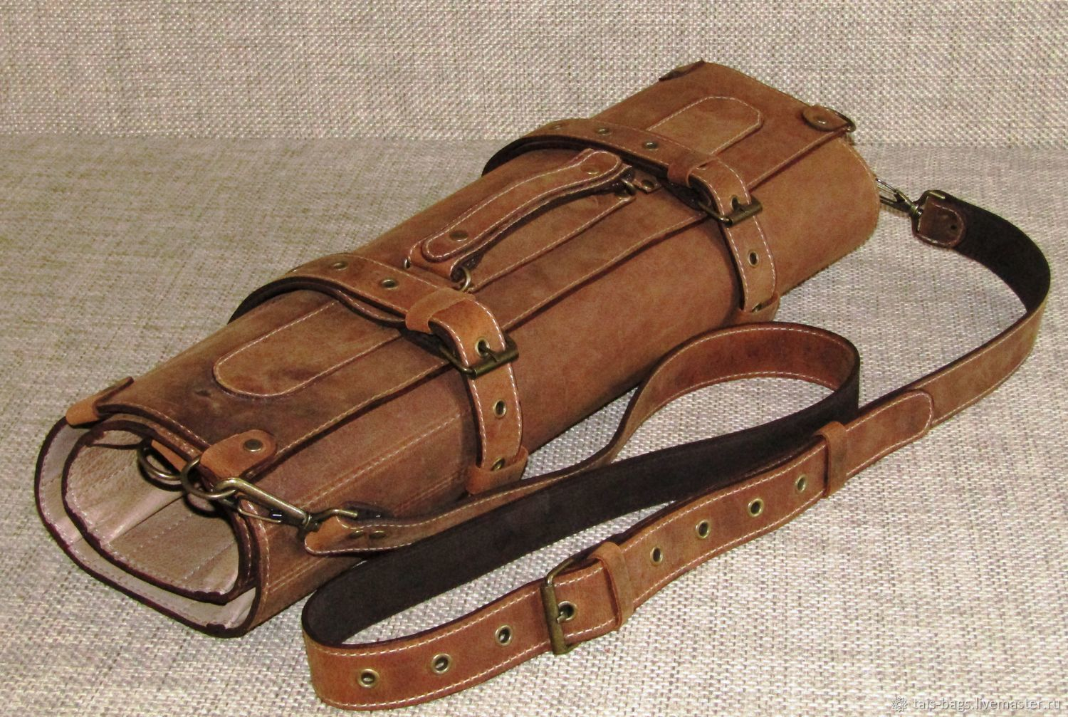 CASE: Double chef's leather twist for 7 cognac-colored knives, Case, Izhevsk,  Фото №1