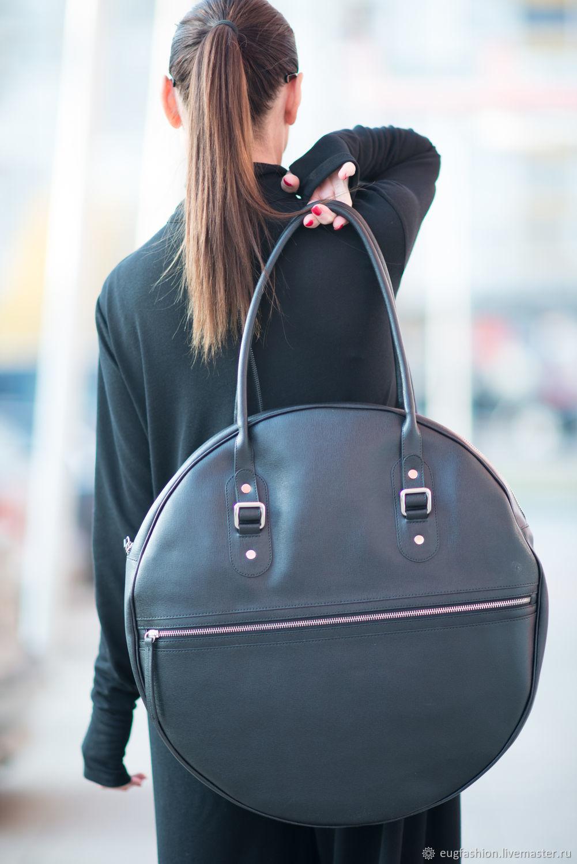 Leather handbag, Handbag genuine leather, Round, black bag, leather Bag, Large leather bag, Handbag women, Handbag leather, Bag leather round