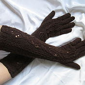 Аксессуары ручной работы. Ярмарка Мастеров - ручная работа Перчатки Льдинка удлиненные коричневые  перчатки длинные шерстяные теп. Handmade.
