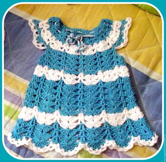 Одежда для девочек, ручной работы. Ярмарка Мастеров - ручная работа. Купить детское платьице. Handmade. Комбинированный, Вязание крючком