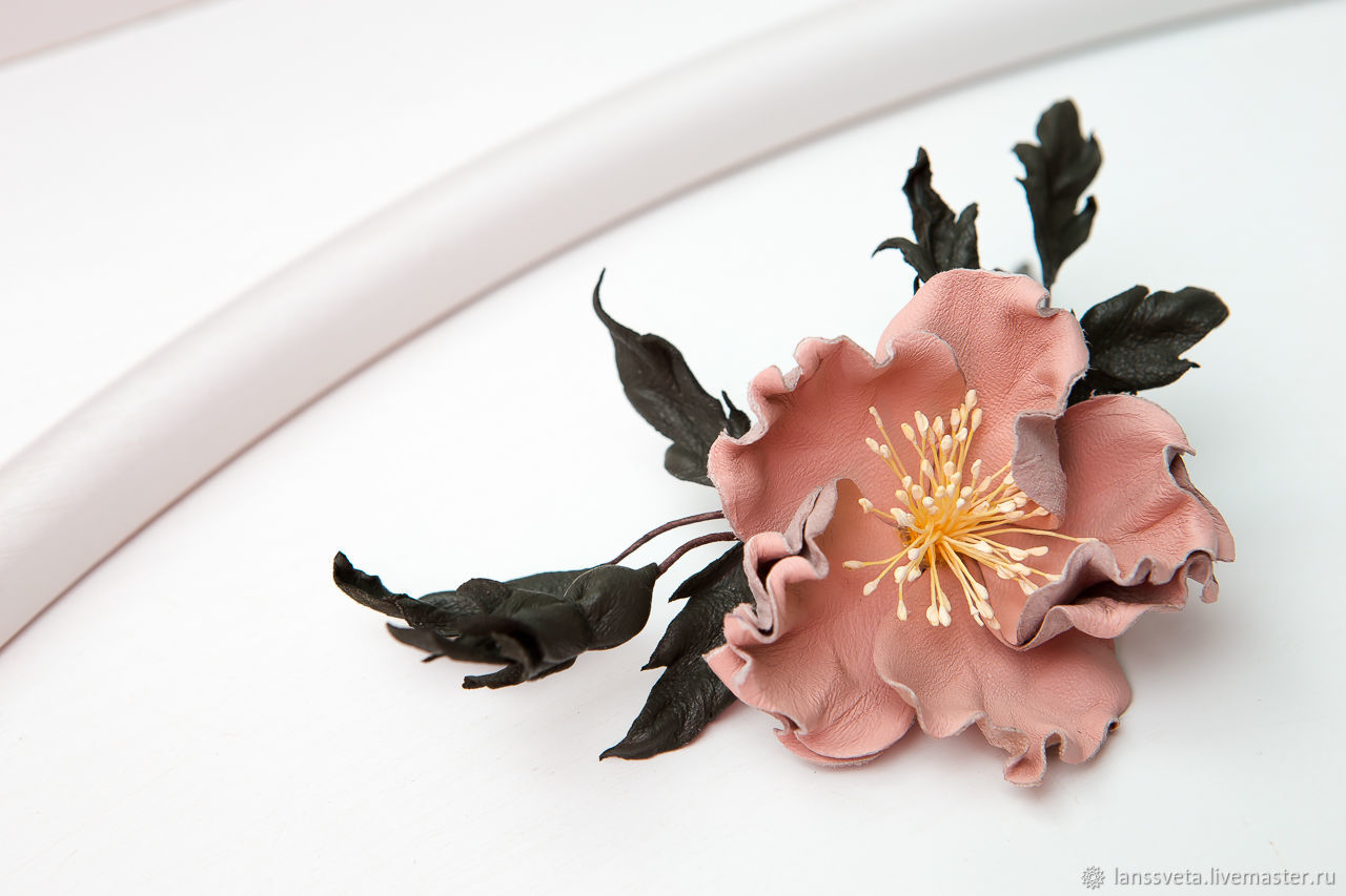 The decoration of leather Sprig of rose hips. Brooch, barrette or headband, Brooches, Bobruisk,  Фото №1