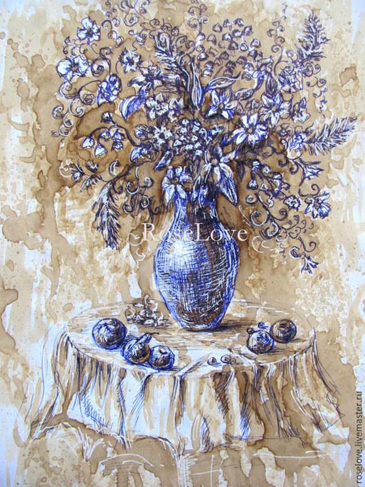 Картина `Кофейный натюрморт` Катерины Аксеновой. картина яблоки,яблоки картина купить натюрморт, картина графика     натюрморт графика     яблоки натюрморт купить     купить натюрморт яблоко