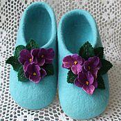"""Обувь ручной работы. Ярмарка Мастеров - ручная работа тапочки""""фиалка"""". Handmade."""