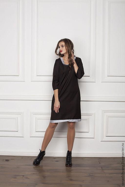 Платья ручной работы. Ярмарка Мастеров - ручная работа. Купить Элегантное свободное прямое платье. Handmade. Темно-серый