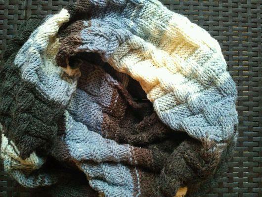 Шарфы и шарфики ручной работы. Ярмарка Мастеров - ручная работа. Купить разноцветный вязаный шарф снуд ручной работы. Handmade.