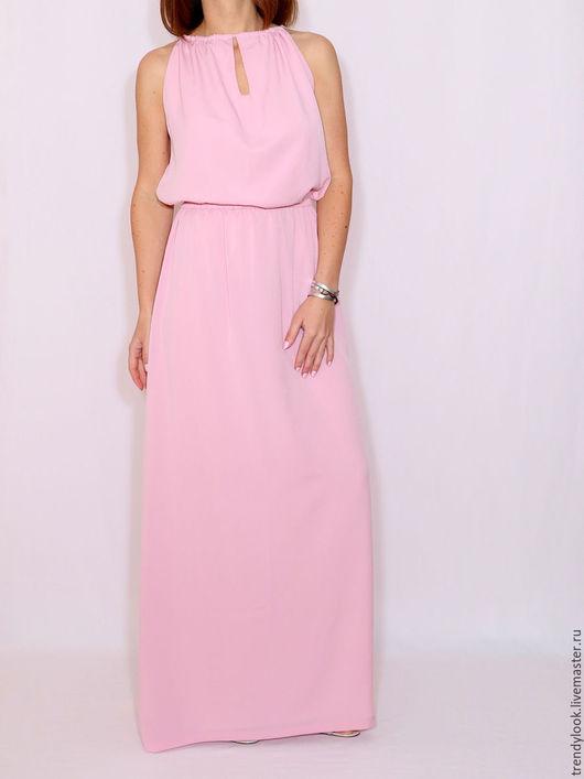 Платья ручной работы. Ярмарка Мастеров - ручная работа. Купить Нежно-розовое платье из шифона Платье в пол. Handmade.