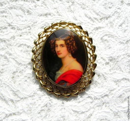 Винтажные украшения. Ярмарка Мастеров - ручная работа. Купить Брошь Портрет прекрасной дамы,США,женщина,леди,мадам,картина,камея. Handmade.