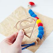 Работы для детей, handmade. Livemaster - original item Superman pacifier clip pacifiers, teething toy for boy. Handmade.