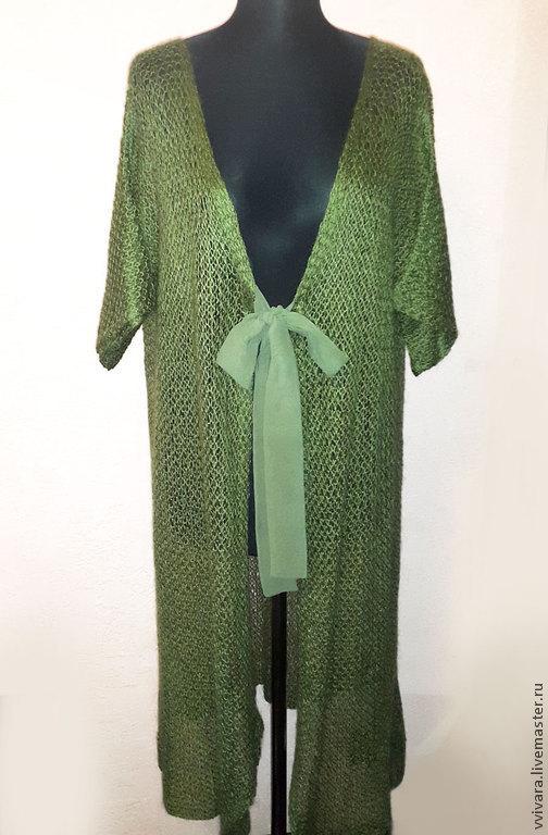 """Кофты и свитера ручной работы. Ярмарка Мастеров - ручная работа. Купить Вязанный кардиган """"Зеленый чай"""" из ангоры. Handmade. Зеленый"""