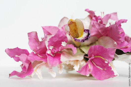 Интерьерные композиции ручной работы. Ярмарка Мастеров - ручная работа. Купить Интерьерная композиция с бугенвиллией и цимбидиумом. Handmade. Розовый