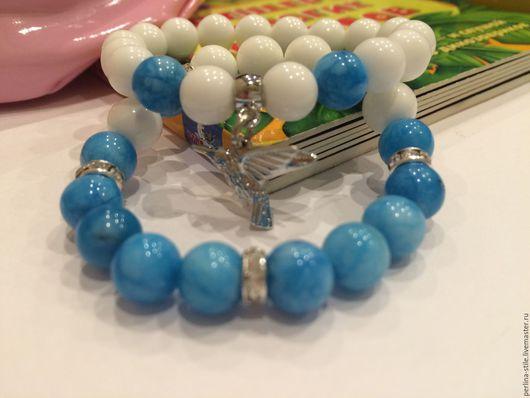 Браслеты ручной работы. Ярмарка Мастеров - ручная работа. Купить Комплект детских браслетов с голубым агатом. Handmade. Голубой