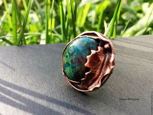 """Кольца ручной работы. Ярмарка Мастеров - ручная работа. Купить медное кольцо""""Secret garden"""". Handmade. Зеленый, кольцо с камнем"""