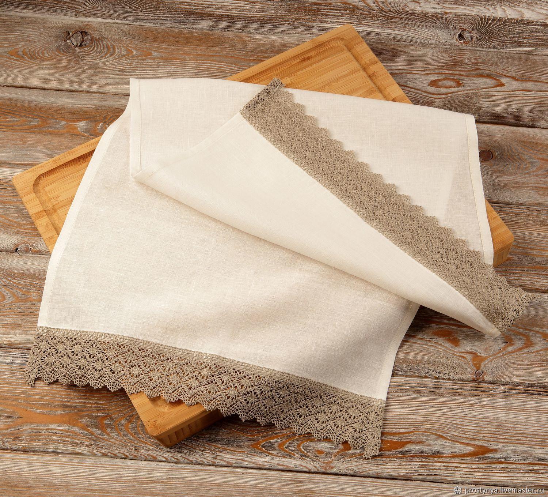 Льняное полотенце,  белоснежное с серым кружевом, Полотенца, Самара,  Фото №1