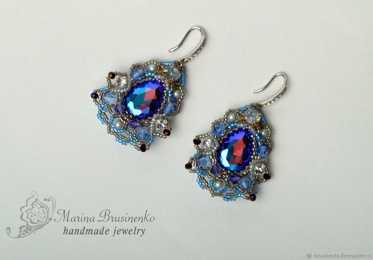 Earrings Fantasy beaded lace with crystals, Earrings, Novosibirsk,  Фото №1