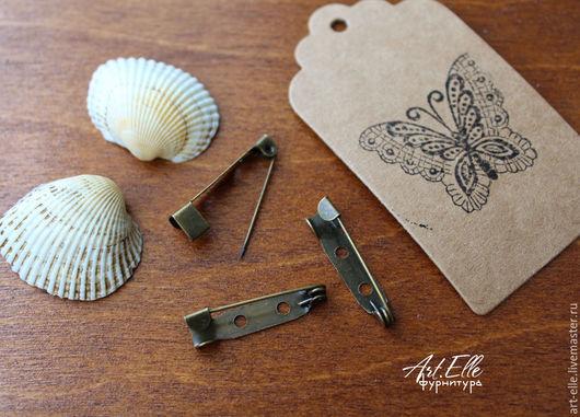 Для украшений ручной работы. Ярмарка Мастеров - ручная работа. Купить Булавка для брошей 25 мм, металл, цвет бронза антик. Handmade.