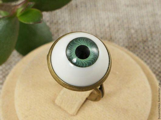 Кольца ручной работы. Ярмарка Мастеров - ручная работа. Купить Кольцо Глаз зеленый, античная бронза (15мм). Handmade. Кольцо