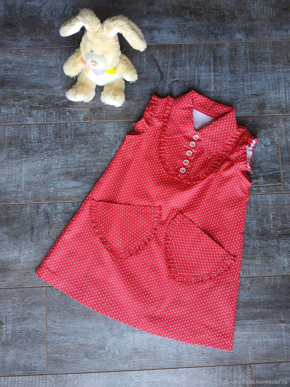 Красное платье горохами для девочки, Платья, Белгород,  Фото №1