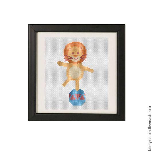 """Вышивка ручной работы. Ярмарка Мастеров - ручная работа. Купить Схема для вышивки крестом """"Львенок в цирке"""". Handmade. Оранжевый, лев"""