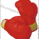 Боксерские перчатки красные-ДМС (основной цвет № 606) на белом фоне.