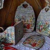 """Для дома и интерьера ручной работы. Ярмарка Мастеров - ручная работа Оливковый натюрморт """" 4 предмета для кухни( 3 доски и подставка). Handmade."""