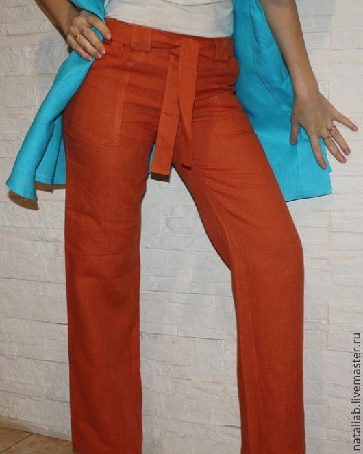"""Брюки, шорты ручной работы. Ярмарка Мастеров - ручная работа. Купить Льняные брюки """"Терракот"""". Handmade. Рыжий, летние брюки"""
