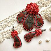 Украшения handmade. Livemaster - original item Jewelry set brooch pendant earrings red natural stone. Handmade.