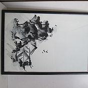Картины и панно ручной работы. Ярмарка Мастеров - ручная работа картина пезаж Дереня летом суми-е. Handmade.