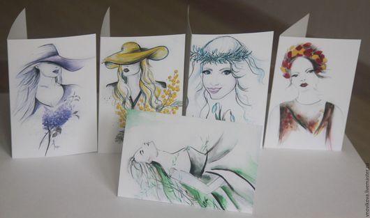 """Открытки для женщин, ручной работы. Ярмарка Мастеров - ручная работа. Купить набор поздравительных открыток """"  Весна """". Handmade."""
