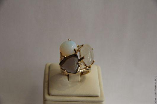 Кольца ручной работы. Ярмарка Мастеров - ручная работа. Купить кольцо с натуральными камнями. Handmade. Комбинированный, кольцо с лунным камнем