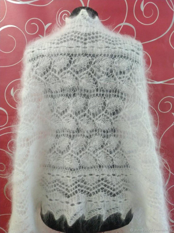 Пуховый палантин белый ажурный (модель №2), Палантины, Урюпинск,  Фото №1