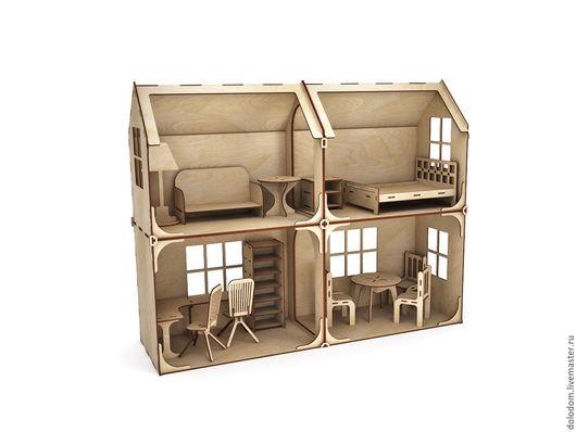 Куклы и игрушки ручной работы. Ярмарка Мастеров - ручная работа. Купить КД-0000022 Модульный Кукольный домик 4 комнаты с мебелью. Handmade.