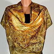 Аксессуары handmade. Livemaster - original item silk scarf batik Chocolate and oranges. Handmade.