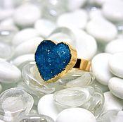 Кольцо с кварцем Сердце