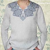 Одежда ручной работы. Ярмарка Мастеров - ручная работа Мужская рубашка с вышивкой СВЯТКОВА 3 Льняная рубаха Вышиванка мужская. Handmade.